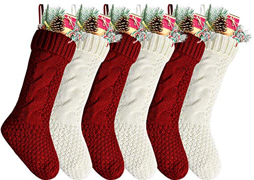 "Kunyida Pack 6,18"" Unique Burgundy and Ivory White Knit Christmas Stockings"