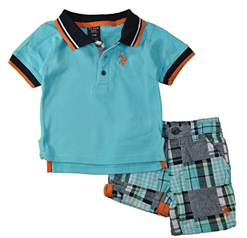 U.S. Polo Assn. Baby Boys' Pique Shirt and Patchwork Short, Multi Plaid, 6-9 Months