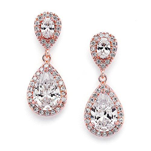 Diamond Teardrop Post Earrings - Mariell Dainty 14K Rose Gold Cubic Zirconia Halo Teardrop Pear-Shaped Dangle Earrings - Bridals & Formals