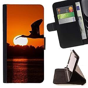 - Flying Stork Bird Sunset/ Personalizada del estilo del dise???¡¯???¡Ào de la PU Caso de encargo del cuero del tir???¡¯????n del s - Cao - For HTC One M8