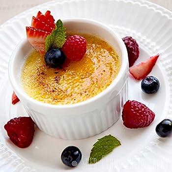 (Set of 6) 4.5 oz. Porcelain Ramekins, White, Bakeware, Souffle Dishes, Creme Brulee, Pudding, Custard Cups, Desserts, by K Basix