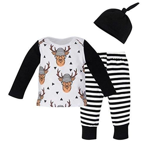 d8aa553c715 Jinjiu Newborn Baby Kids Girl Boy Deer Print Tops T-shirt+Striped Pants+