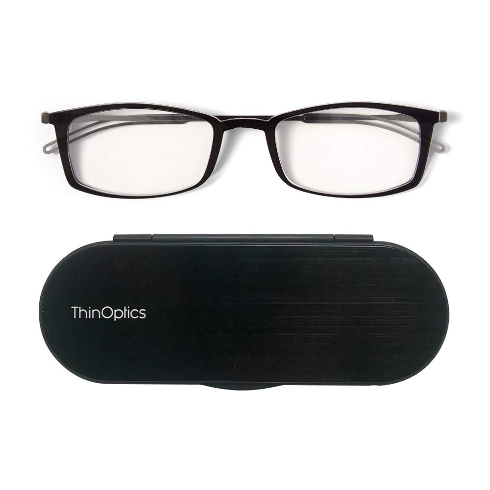 ThinOptics Reading Glasses + Milano Aluminum, Magnetic Case | Frontpage Brooklyn Collection, Black Frame 1.50 Strength Readers