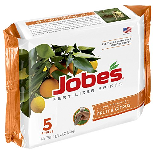 Tree Fertilizer Spikes - Jobe's Fruit & Citrus Fertilizer Spikes 9-12-12 Time Release Fertilizer for All Fruit Trees, 5 Spikes per Package