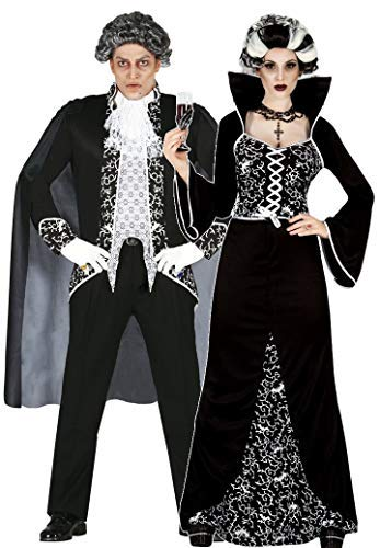 Ladies AND Mens Couples Black/White Royal Vampire Halloween Fancy Dress Costumes Outfits (UK 10-12 - Mens Large) -