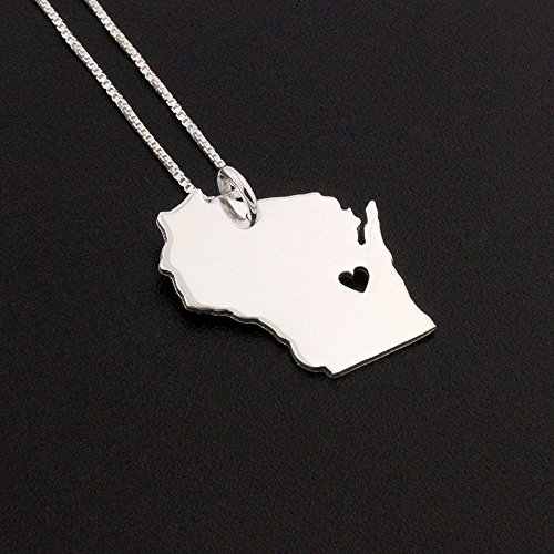 Wisconsin necklace Bright satin finish sterling silver Wisconsin state Personalized engraving necklace with heart Best friend Gift