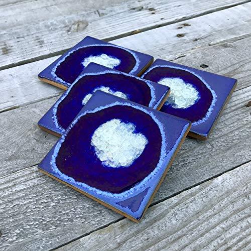 (Geode Crackle Coaster Set of 4 in COBALT: Geode Coaster, Crackle Coaster, Fused Glass Coaster, Crackle Glass Coaster, Agate Coaster, Ceramic Coaster, Dock 6 Pottery Coaster )
