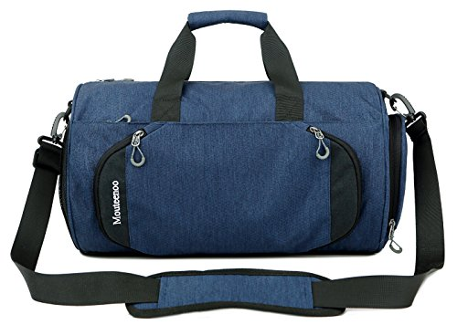 Gym Sports Small Duffel Bag for Men and Women with Shoes Compartment - Mouteenoo (X-Small, Blue/Black) -