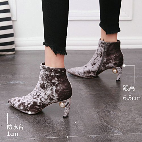 Boots Show And Short Pearl Thin Sweet Boots Sharp To Zipper Side Suede Simple Commuter Chelsea Grey Elegant KPHY Boots nx6wgXqI