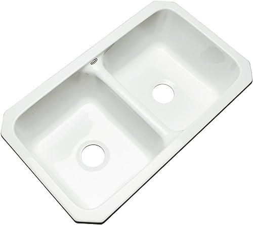 Dekor Sinks 50000UM Westport Double Bowl Undermount Cast Acrylic Kitchen Sink, 32 , White