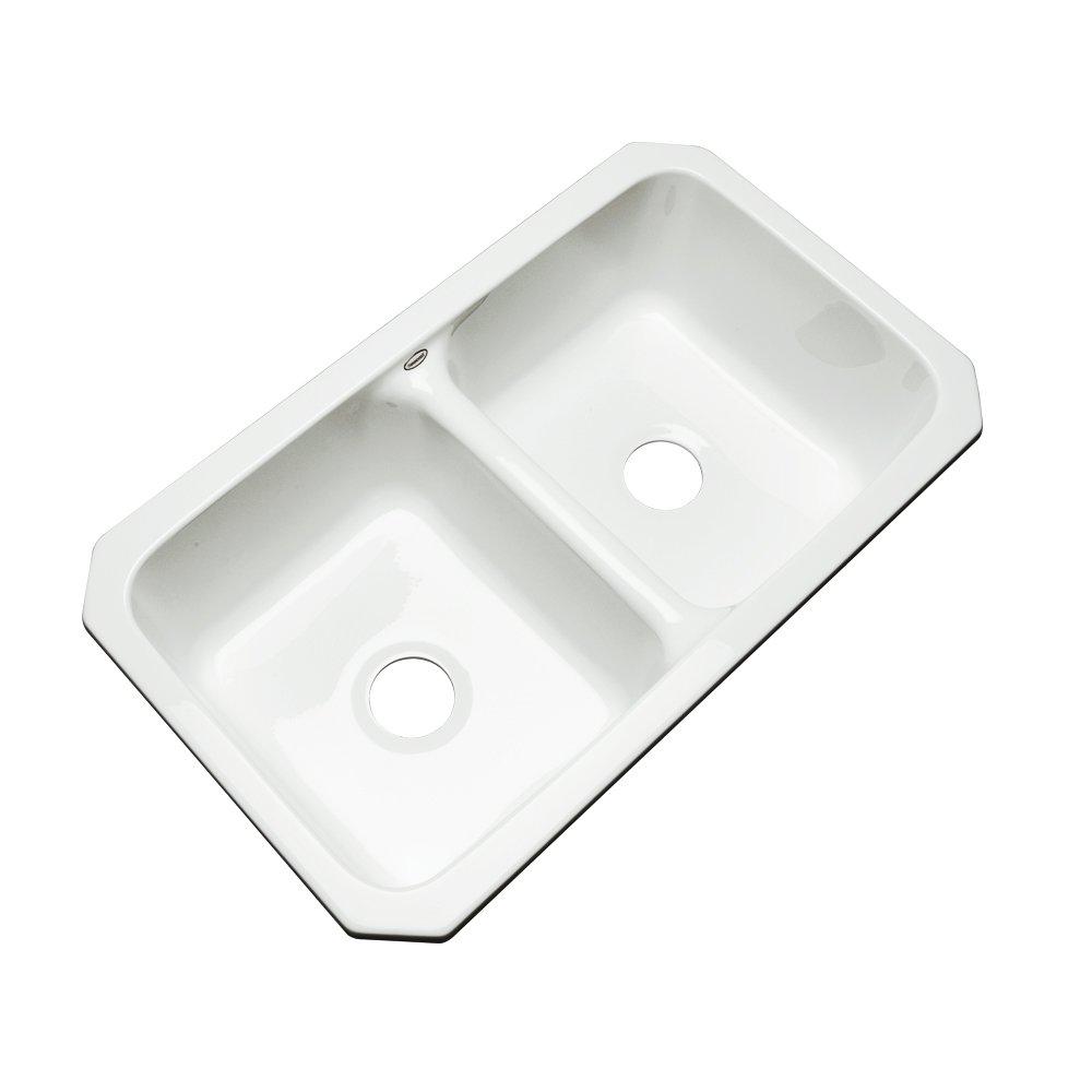 Dekor Sinks 50000UM Westport Double Bowl Undermount Cast Acrylic Kitchen Sink, 33'', White