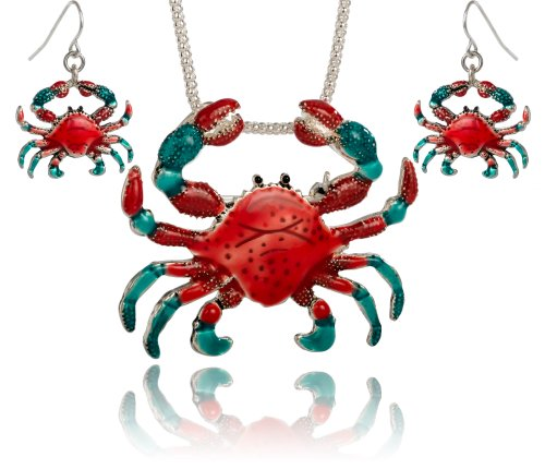(Jewelry Nexus Red & Blue Crab Pendant Brooch Necklace Set with)