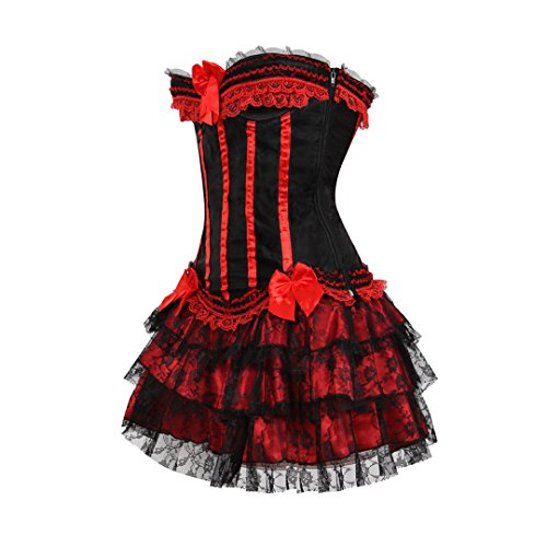 Kranchungel Women's Burlesque Stripe Overbust Corset Bustier with Tutu SKirt Outfit Rojo
