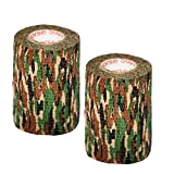 "2 Pack Camo Tape 3"" inch x 15' Feet Self Adhesive Adherent Tactical Stealth Non Woven Fabric Stretch Bandage Vet Wrap Rap Protective Camouflage Tape for Outdoor Military - Stealth"
