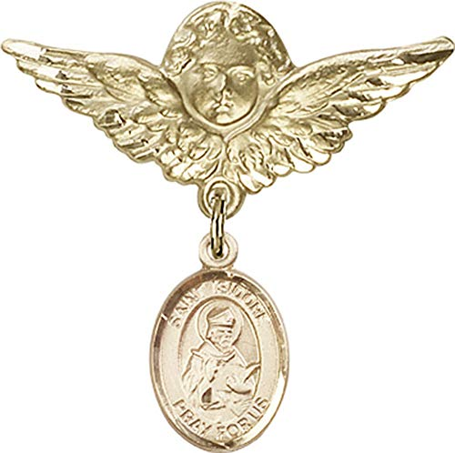 14kt Gold Filled Baby Badge with St. Isidore of Seville Charm and Angel w/Wings Badge Pin St. Isidore of Seville is the Patron Saint of Computers/Internet 1 1/8 X 1 1/8