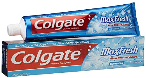 Breath Strips Cool Mint (Colgate Max Fresh Fluoride Gel Toothpaste, with Mini Breath Strips, Cool Mint, 7.8 Ounces)