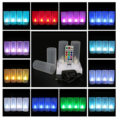Horeset Rechargeable LED Flameless Candles Tealight Candles With Remote Control Base + 4 Frosted Holders+ 1 AC/DC adapter (Multicolor -color Candle,Set of 4)