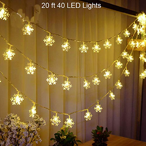 WesGen LED String Lights Christmas Snowflake Lights Battery Operated Waterproof 20ft, 40 LED Lights for Bedroom, Corridor, Patio, Garden, Yard, Photo Frame (Yellow) for $<!--$13.99-->