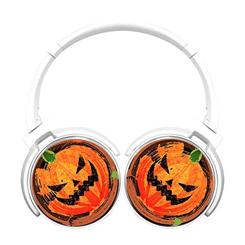 Halloween Pumpkin Art 3D Printed Wireless Retractable Bluetooth Headphones Headsets Over Ear for Kids Or Adults White]()