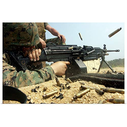 (GREATBIGCANVAS Poster Print Entitled A Marine engages Targets with an M249 Squad Automatic Weapon by Stocktrek Images 18