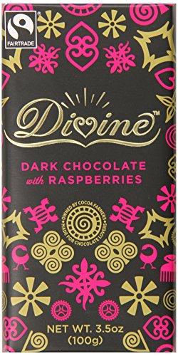 Divine Chocolate Bar, 70% Dark Chocolate with Raspberries, 3.5 Ounce (Pack of (Dark Chocolate Raspberry Bars)