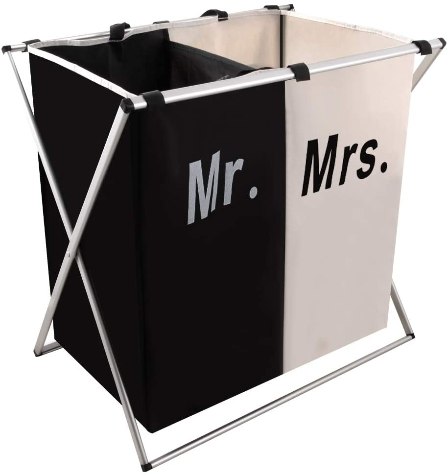 Nicesail 2 Section Laundry Basket for Husband&Wife, Parents or Couple, Clothes Organizer Hamper as Wedding Gift, Washing Storage Basket with Handle, Foldable X-Frame Sorter for Bathroom Bedroom Garage