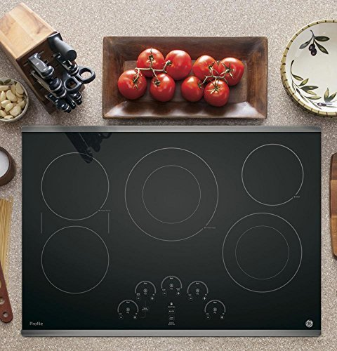(GE PP9030SJSS 30 Inch Smoothtop Electric Cooktop with 5 Radiant, Left-Side Bridge SyncBurners, Glide Touch Controls, Multi-Element Timers and Melt/Keep Warm Setting)