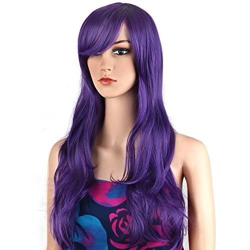 Ecvtop Wigs 28 Inch Wavy Curly Cosplay Wig Women Wig Long Hair Heat Resistant Wig (Purple) (Wigs Purple)