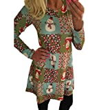 Han Shi Party Dresses, Women Xmas Print Ladies Christmas Flared Long Sleeve Swing Tunic Top (M=(US S), Multicolor)