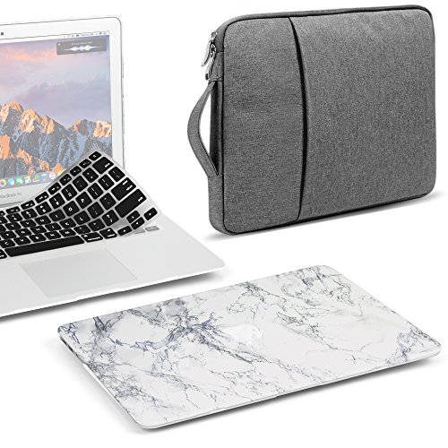 GMYLE MacBook Air 13 Inch Case A1466 A1369 Old Version 2010-2017 3 in 1 Bundle, Plastic Hard Shell, 13.3 inch Protective Carrying Sleeve, Keyboard Cover Set - White Marble ()