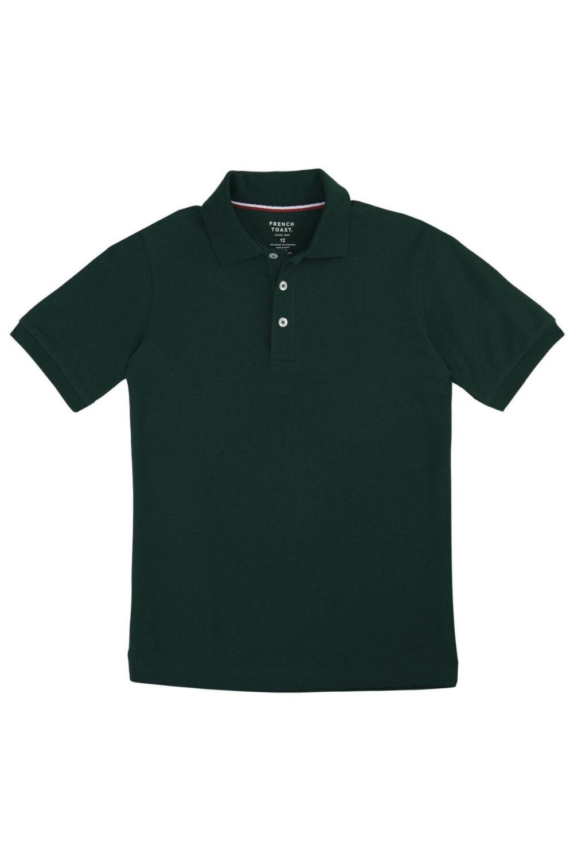 French Toast School Uniform Boys Short Sleeve Pique Polo Shirt, Hunter Green, 5
