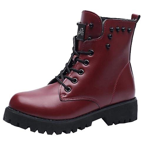 Logobeing Botas de Mujer Cuero Militares Botines Mujer Zapatos Nieve Piel Forradas Calientes Planas Combate Militares Boots Planos Botines Casual Plataforma ...