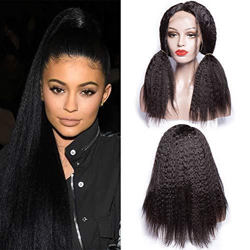 Maxine Italian Yaki Peluca de encaje frontal con pelo humano extra pesado 180 densidad, gran peluca de encaje brasileño personalizado con pelo de bebé para mujeres negras, color natural