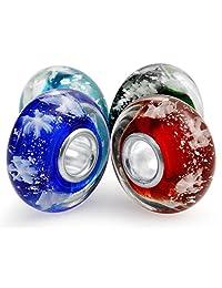 .925 Silver Set of Four Christmas Bundle Snowflake Multicolor Murano Glass Lampwork Bead Charm