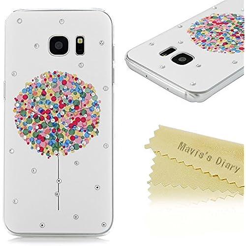 S7 Edge Case,Galaxy S7 Edge Case - Mavis's Diary 3D Handmade Bling Crystal Shiny Diamonds Rhinestone with Colorful Sales