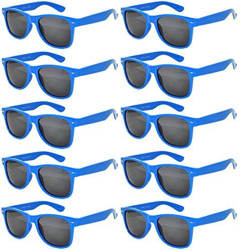 Vintage Retro Eyeglasses Sunglasses Smoke Lens 10 Pack Colored Colors Frame OWL (Blue_Dark_10_Pairs, PC Lens)