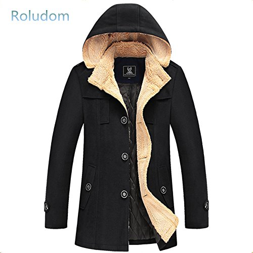 Roludom Men's Single Breasted Trench Coat Hooded Overcoat Black](Mens Winter Tweed Coat)