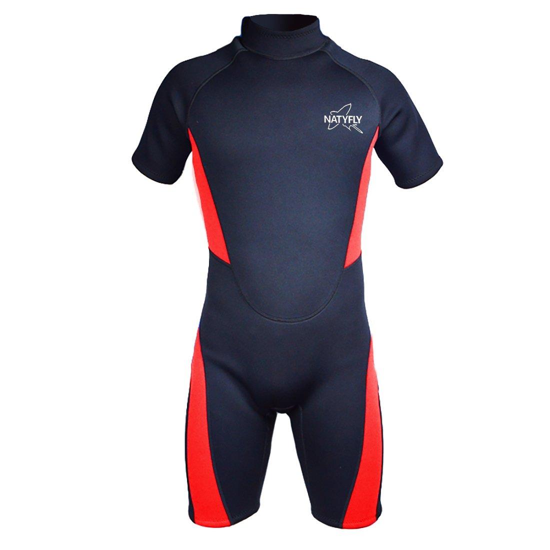 NATYFLY Wetsuit Men 3mm Neoprene Shorty Surfing Wetsuits for Women (Red/Shorty Wetsuit, XL) by NATYFLY