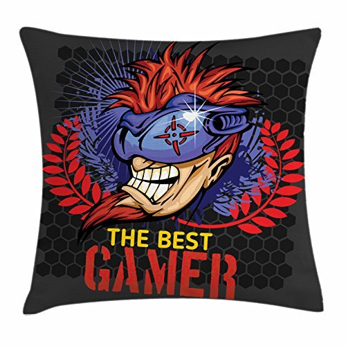 Gamer Throw Pillow Cushion Cover, Greyscale Hexagonal Beehive Pattern Background with Wreath and Portrait of a Gamer, Decorative Square Accent Pillow Case, 18 X 18 Inches, (Halloween Bee Scale)