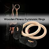 Embiofuels New Wood Gymnastic Rings Wooden 32mm Exercise Fitness Gymnastic Rings Gym Exercise Pull Ups Muscle Ups Buckle Strap Home Workout