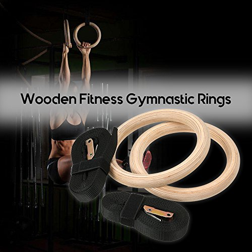 Embiofuels New Wood Gymnastic Rings Wooden 32mm Exercise Fitness Gymnastic Rings Gym Exercise Pull Ups Muscle Ups Buckle Strap Home Workout by Embiofuels