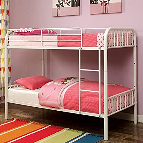 Furniture Of America Linden II 2 Piece Twin Over Twin Metal Bunk Bed With Trundle Set White White Finish