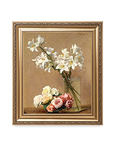 Art Framed Rhone (DECORARTS - Roses and Lilies, Henri Fantin-Latour Classic Art. Giclee Prints Framed Art for Wall Decor. Framed Size: 26x30)