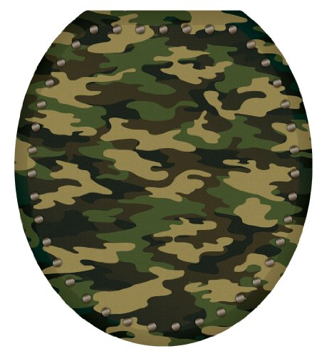 Toilet Tattoos TT-1026-R Army Camouflage Decorative Applique For Toilet Lid, -