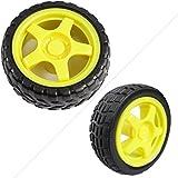 Emall 2pcs Arduino Small Smart Car Model Robot Plastic Tire Wheel Motor Chassis 65x26mm Tt Gear