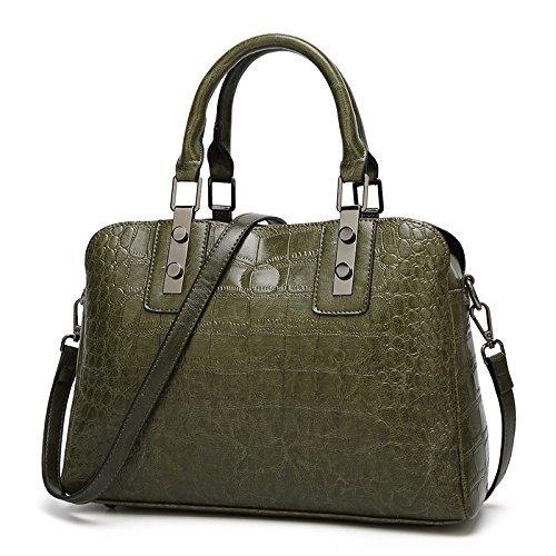 ZM-bag Bag 2018 Nuevos Bolsos De La Manera Europea Y Americana Crocodile Pattern Simple Handbag Ladies Shoulder Bag Verde