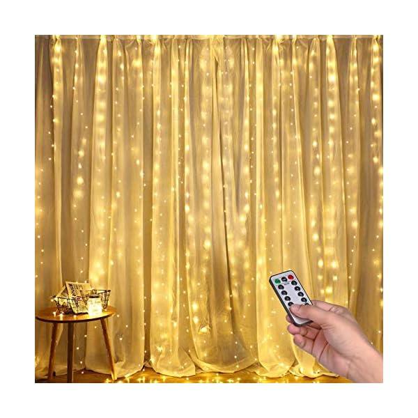 Luci per Tende a LED, DazSpirit Tenda luminosa Luci Cascata per Finestra, 3M x 3M 300LEDs USB 8 Modalità e Resistenza all'acqua - Per Esterni, Interni, Natale, Camera da Letto, Giardino e Soffitto 1 spesavip