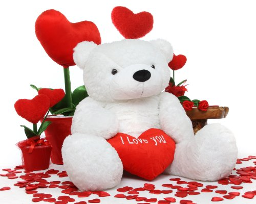 Amazon 5 Foot Life Size I Love You Teddy Bear White Color – Teddy Bear Valentines Day Card