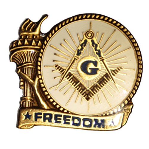 Masonic Freedom Liberty Arm One Inch Wide Antique Bronze Lapel Pin