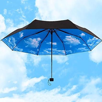 Lamdoo Paraguas azul cielo 3 sombrillas plegables de lluvia paraguas super anti UV protección solar paraguas
